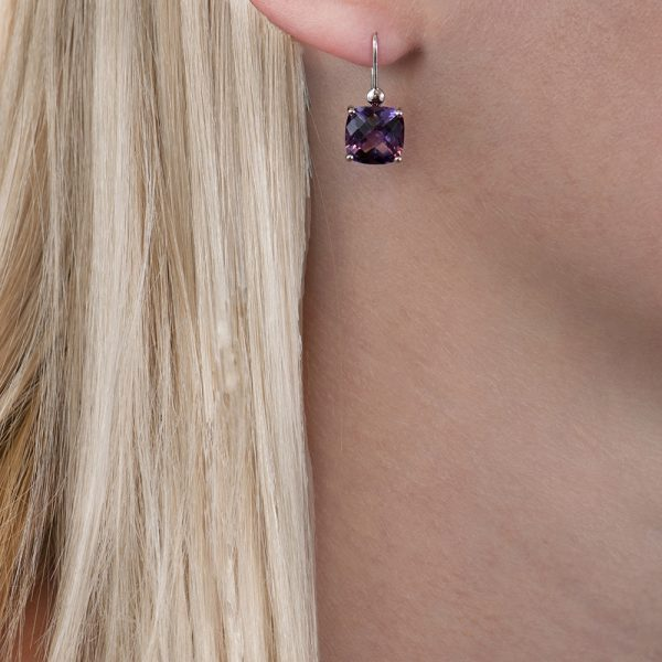 White gold amethyst cushion drop earrings