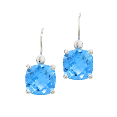 Blue topaz drop earrings white gold