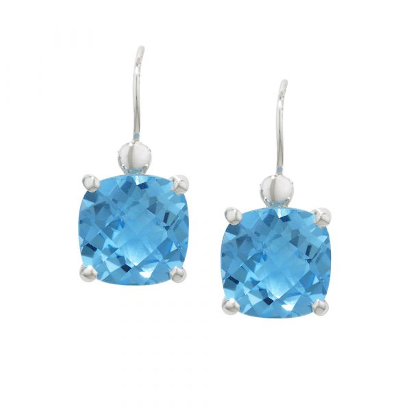 White gold blue topaz cushion drop earrings