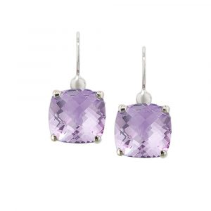 White gold lilac amethyst drop earrings