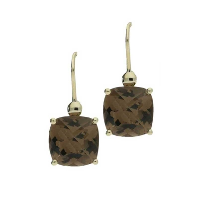 Smoky quartz drop earrings yellow gold