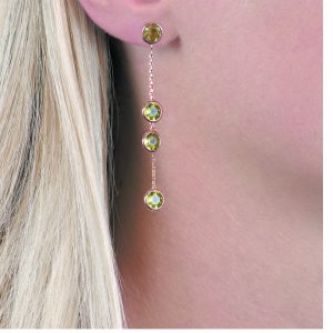 Rose gold peridot Raindrop earrings