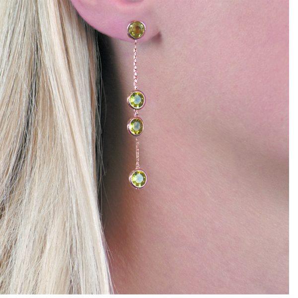 Rose gold peridot Raindrop earrings