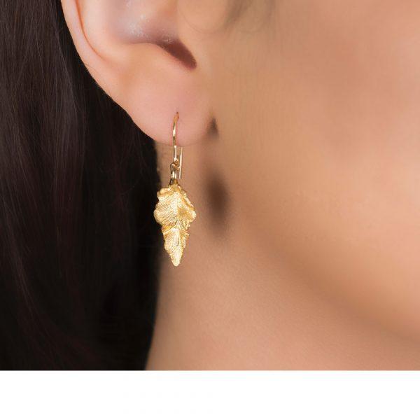 Yellow Gold Golden Leaf Drop Earrings