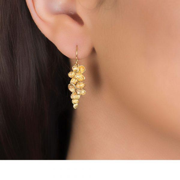 Yellow Gold Falling Leaves Drop Earrings