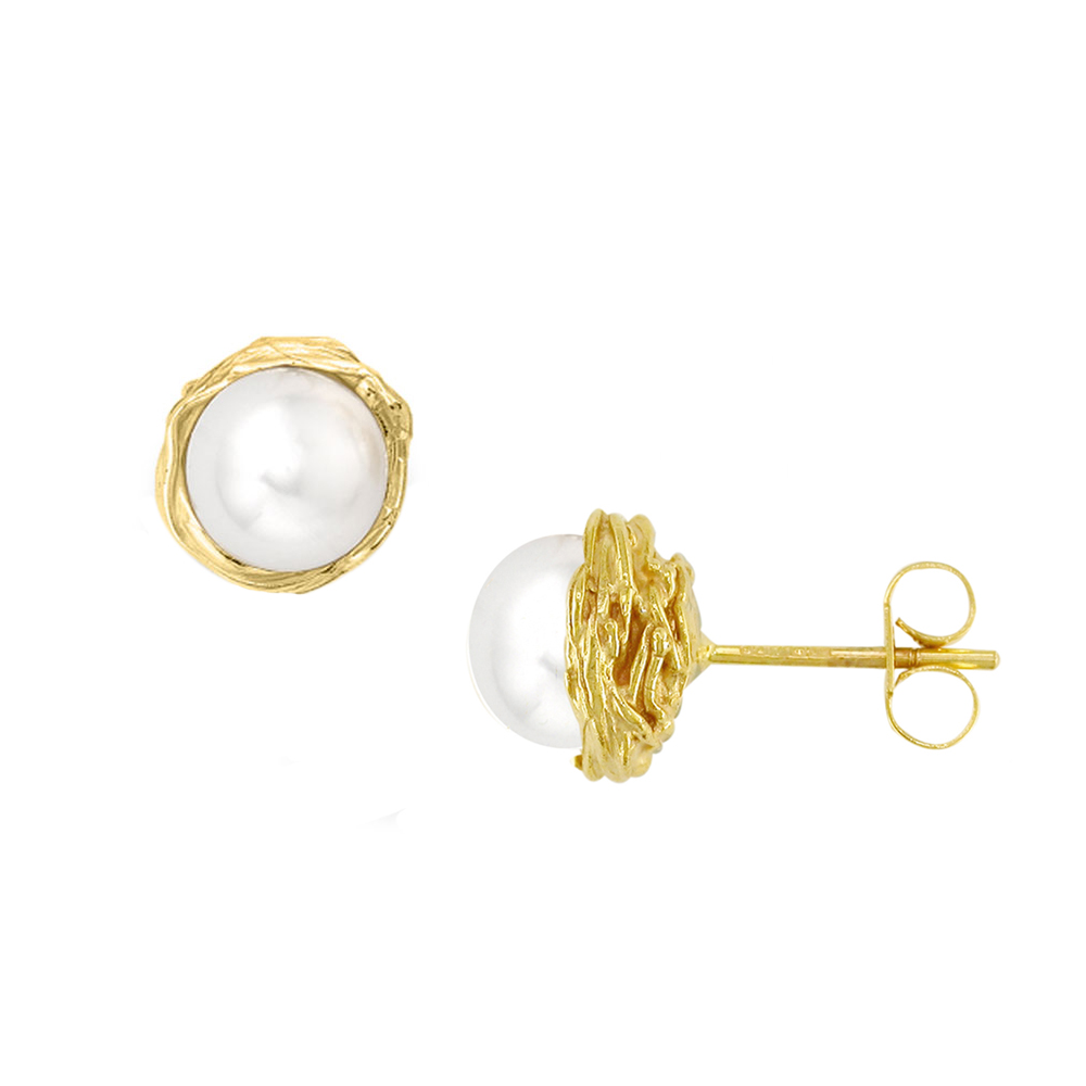 Yellow gold cultured freshwater pearl earrings