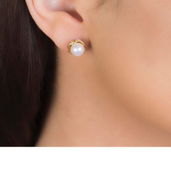 Willow Single Pearl Stud Gold Earrings