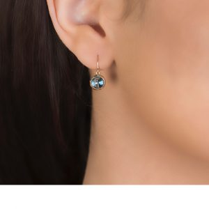 Bubble Blue Topaz Rose Gold Drop Earrings