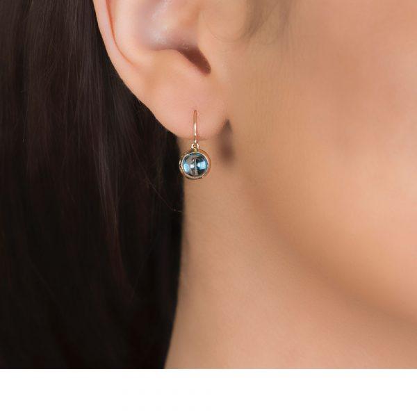 Bubble Blue Topaz Rose Gold Drop Earrings