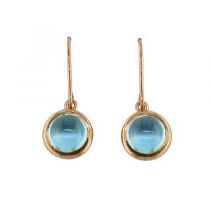 Rose gold blue topaz drop Bubble earrings
