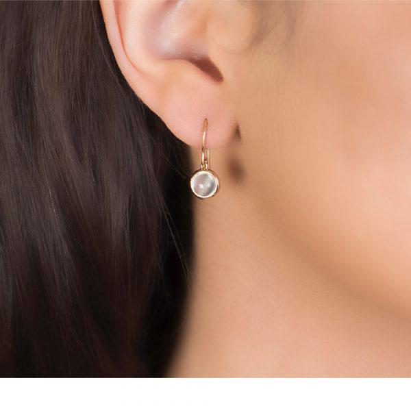 Bubble Moonstone Rose Gold Drop Earrings