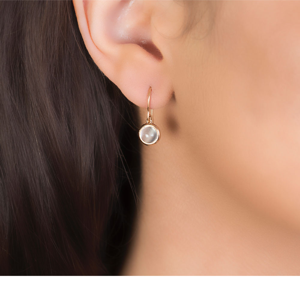 Relatively Classic Bubble Moonstone Rose Gold Drop Earrings | London Road  UM74