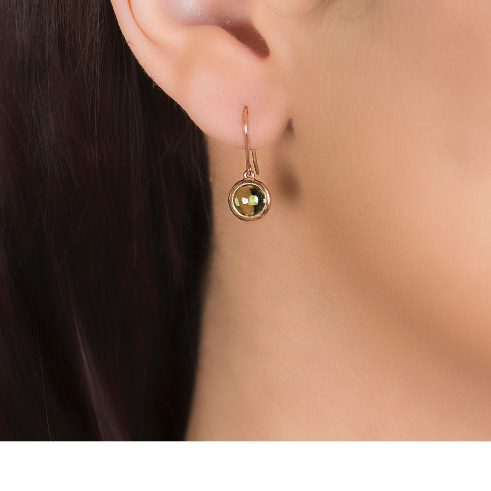 Bubble Peridot Rose Gold Drop Earrings