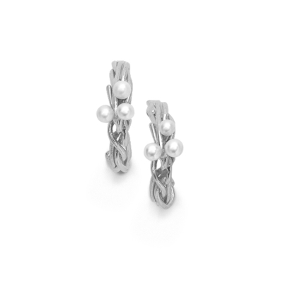 Cultured freshwater pearl hoop earrings silver