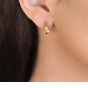 Yellow gold cultured freshwater pearl hoop earrings