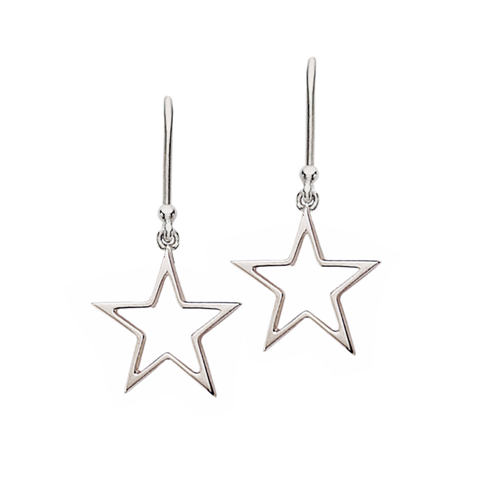 White gold open frame star drop earrings