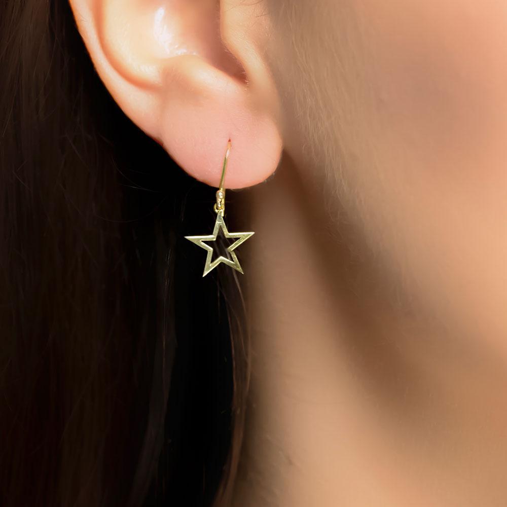 Yellow gold star drop earrings