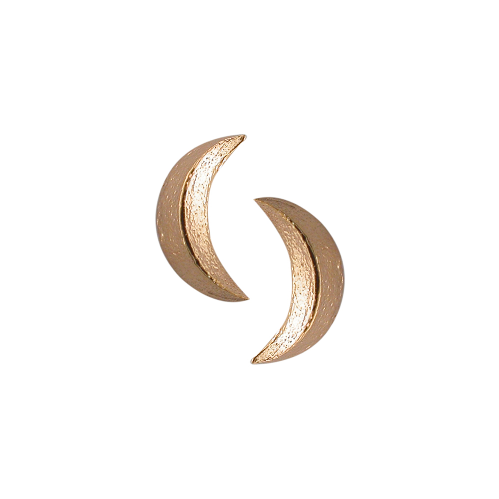 3D moon stud earrings rose gold