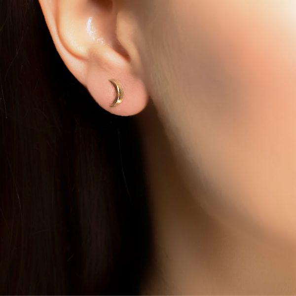 Rose gold moon stud earrings
