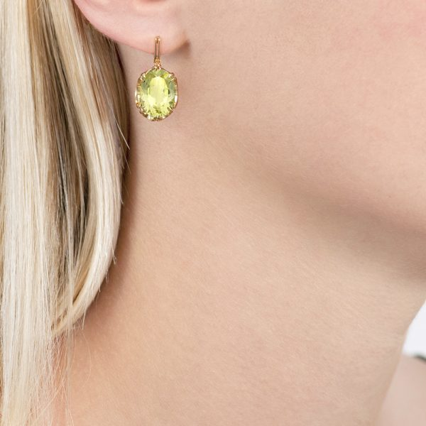 Yellow gold lemon quartz drop earrings