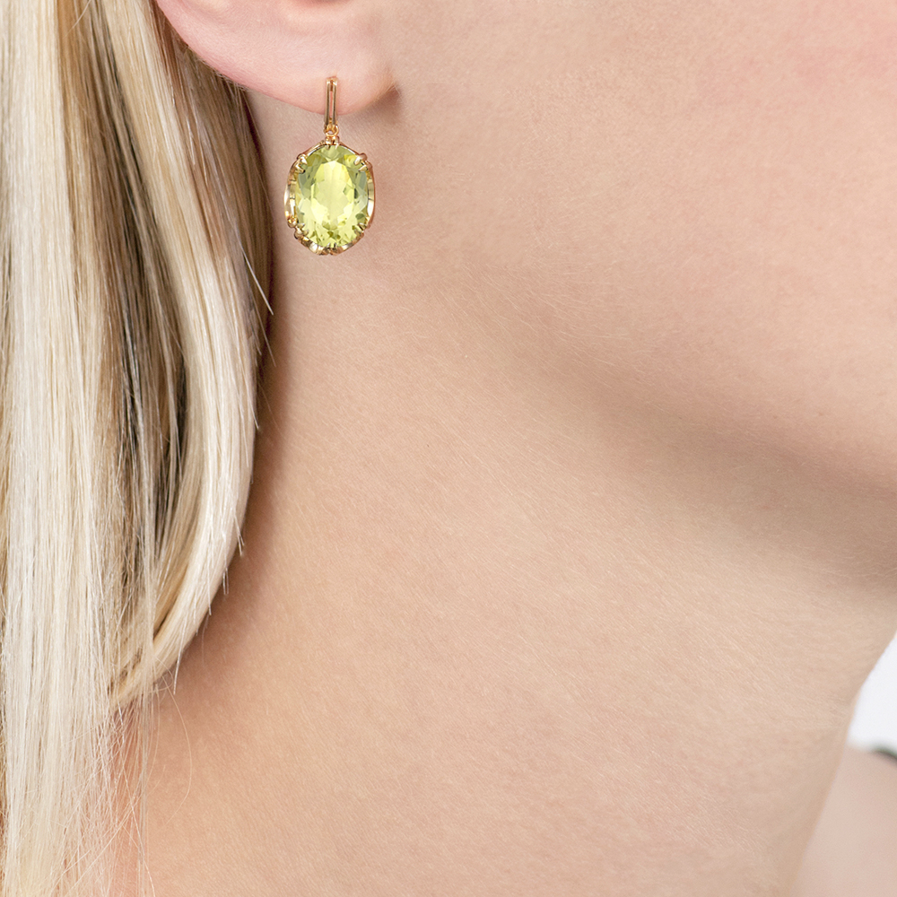 Yellow gold lemon quartz drop earrings