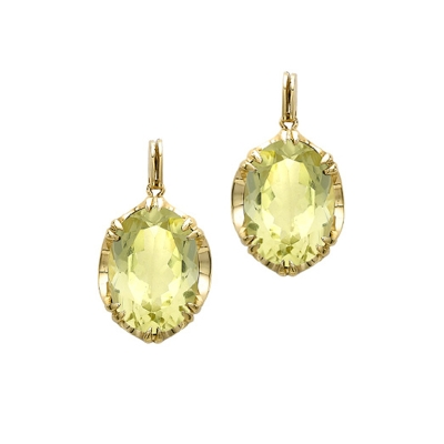 Designer Yellow Gold Lemon Quartz Cocktail Earrings