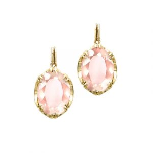 Rose quartz cocktail drop earrings yellow gold