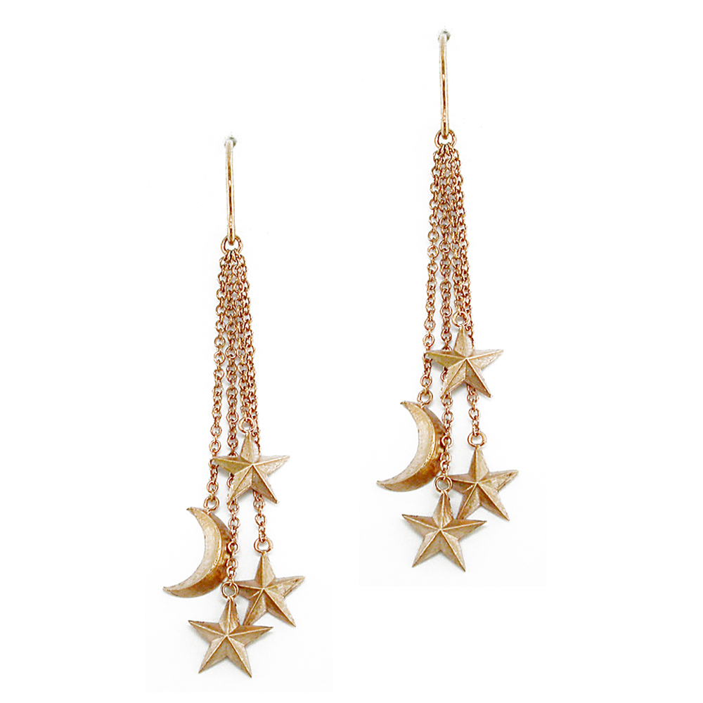 Rose gold moon star drop earrings