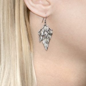 Silver leaves drop Kew earrings