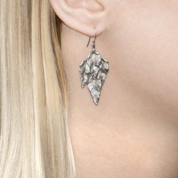 Silver leaves drop Kew earrings