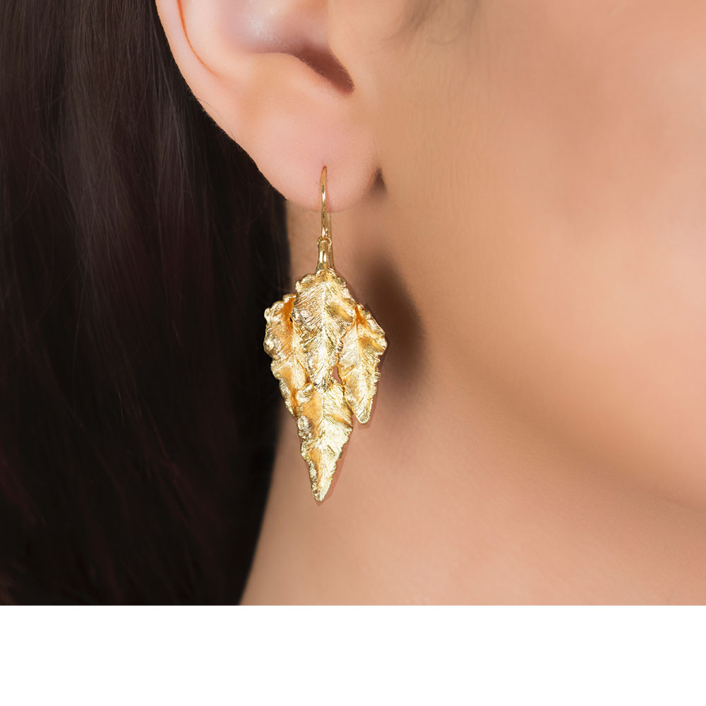 Yellow Gold Golden Layered Leaf Drop Earrings