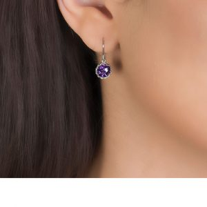 White gold amethyst drop Coronation earrings