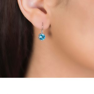 White Gold Blue Topaz Chequer-cut Coronation Drop Earrings