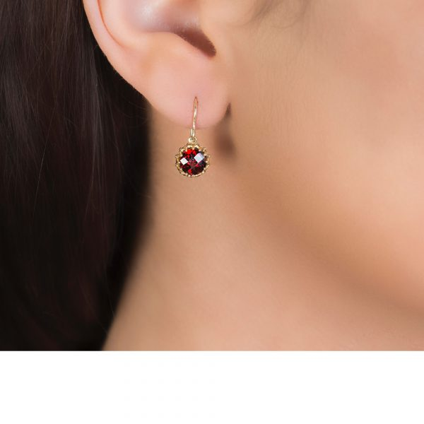 Yellow Gold Chequer-cut Garnet Coronation Drop Earrings