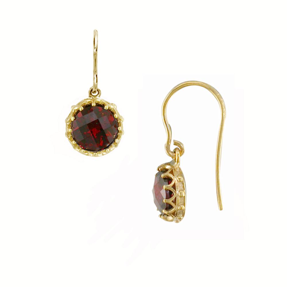 Yellow gold garnet drop earrings
