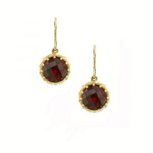 Yellow gold garnet drop earrings