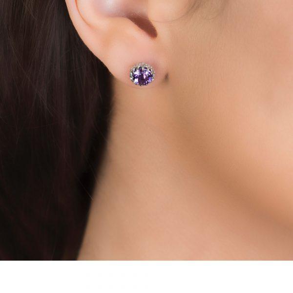 White gold amethyst Coronationn stud earrings