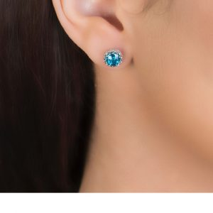 Checker-cut Blue topaz coronation stud earrings white gold