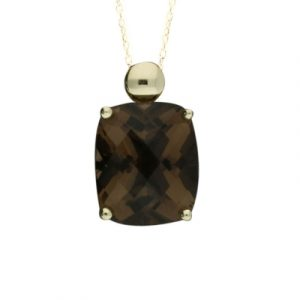 Smoky quartz cushion pendant yellow gold
