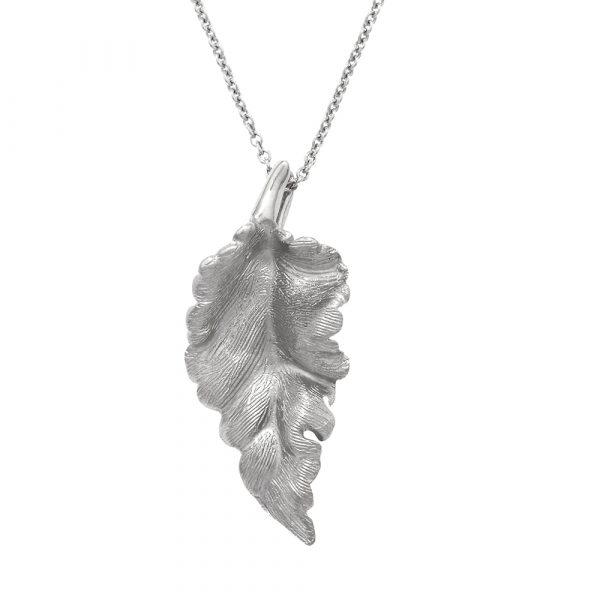 Silver Kew leaf pendant necklace