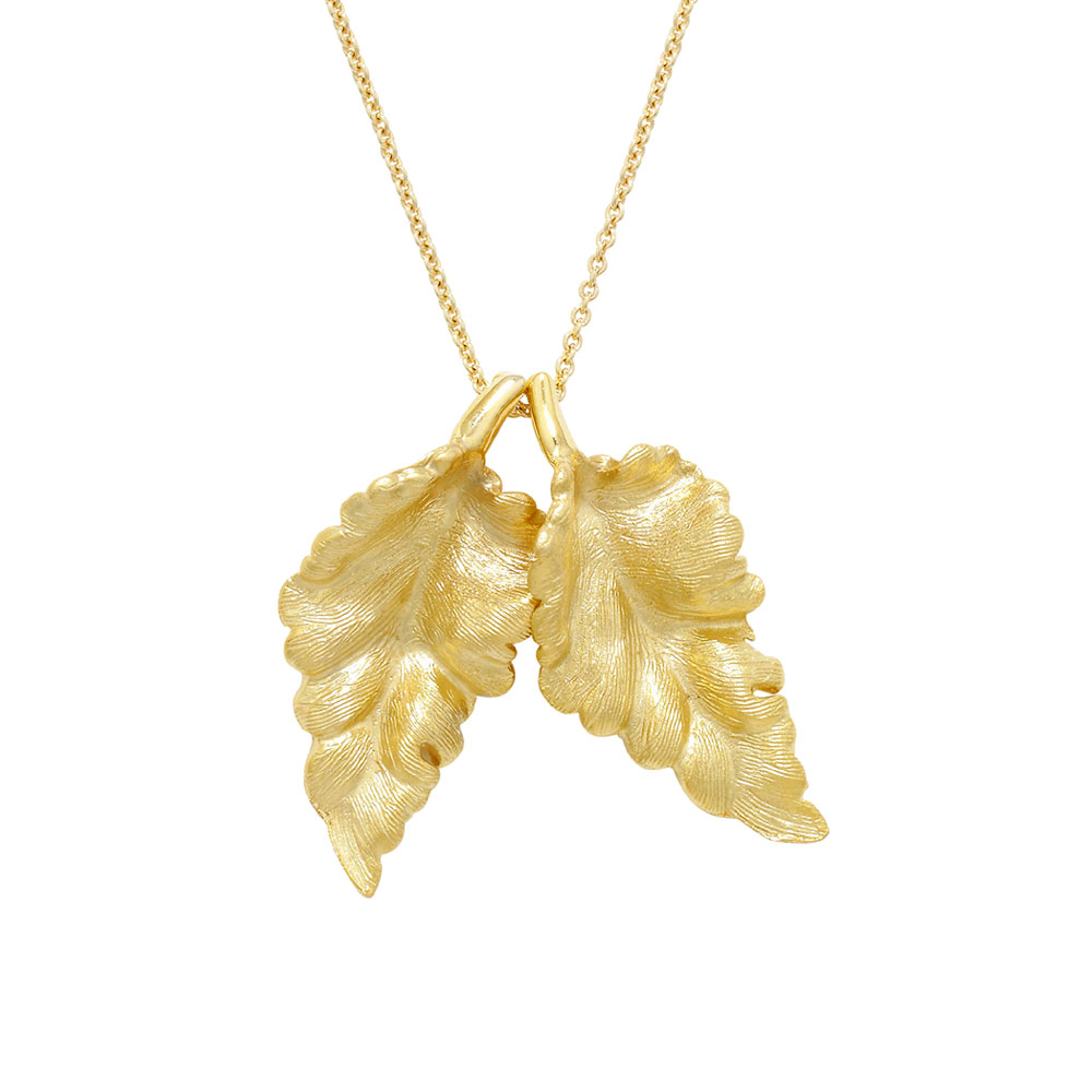 Golden leaf pendant yellow gold