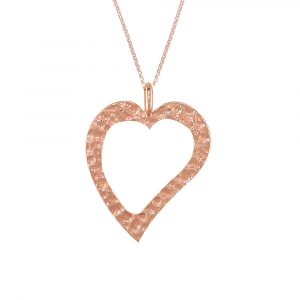 Rose gold hammered open heart pendant