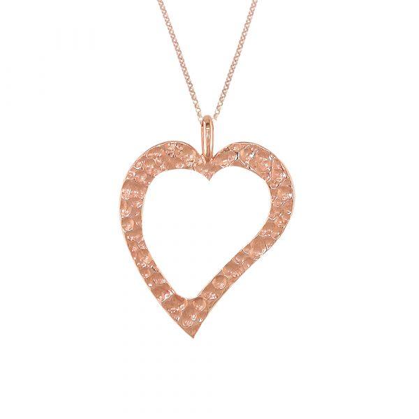 Rose gold hammered open heart pendant