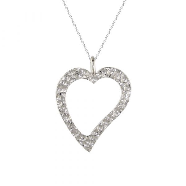 White gold open heart pendant
