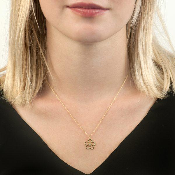 Yellow gold diamond Blossom Birthstone pendant necklace
