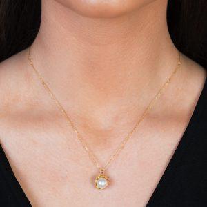 Yellow Gold Willow Single Pearl Pendant