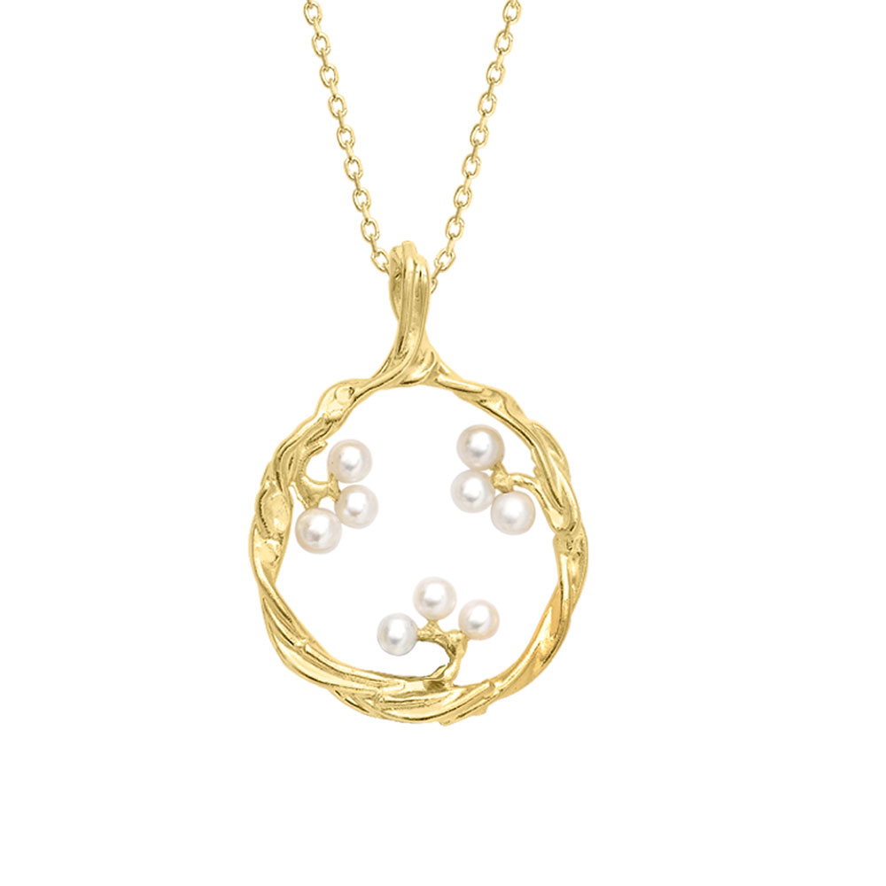 Cultured freshwater pearl pendant yellow gold