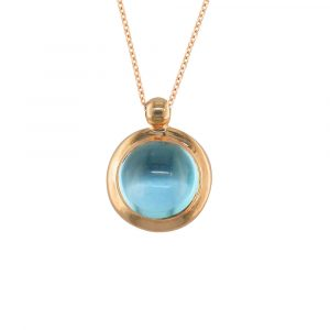Blue topaz bubble pendant rose gold