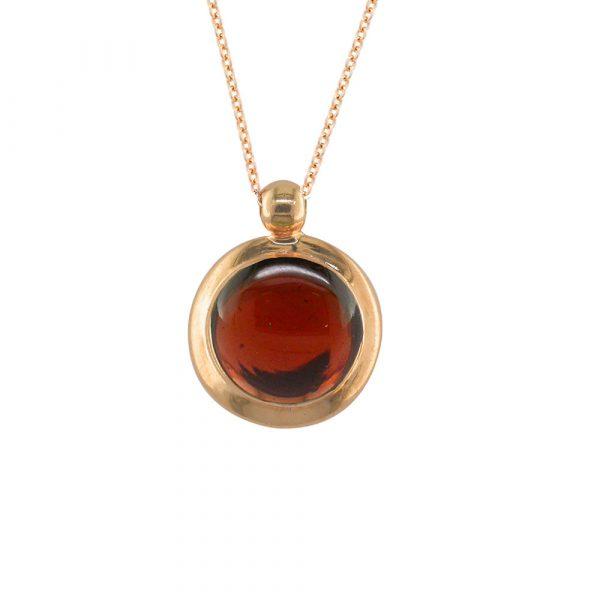 Garnet bubble pendant rose gold