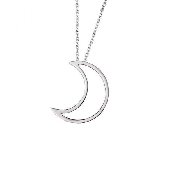 Silver open moon pendant necklace